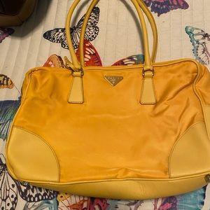 Prada yellow nylon and leather handbag